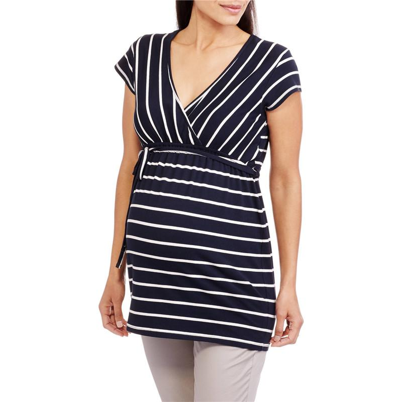 877fe1cd657f3 2019 Maternity Clothes 2018 Summer Women T Shirts V Neck Short Sleeve High  Waist Striped Tee Tops Plus Size Pregnancy Blusas 5XL From Ferdimand, ...