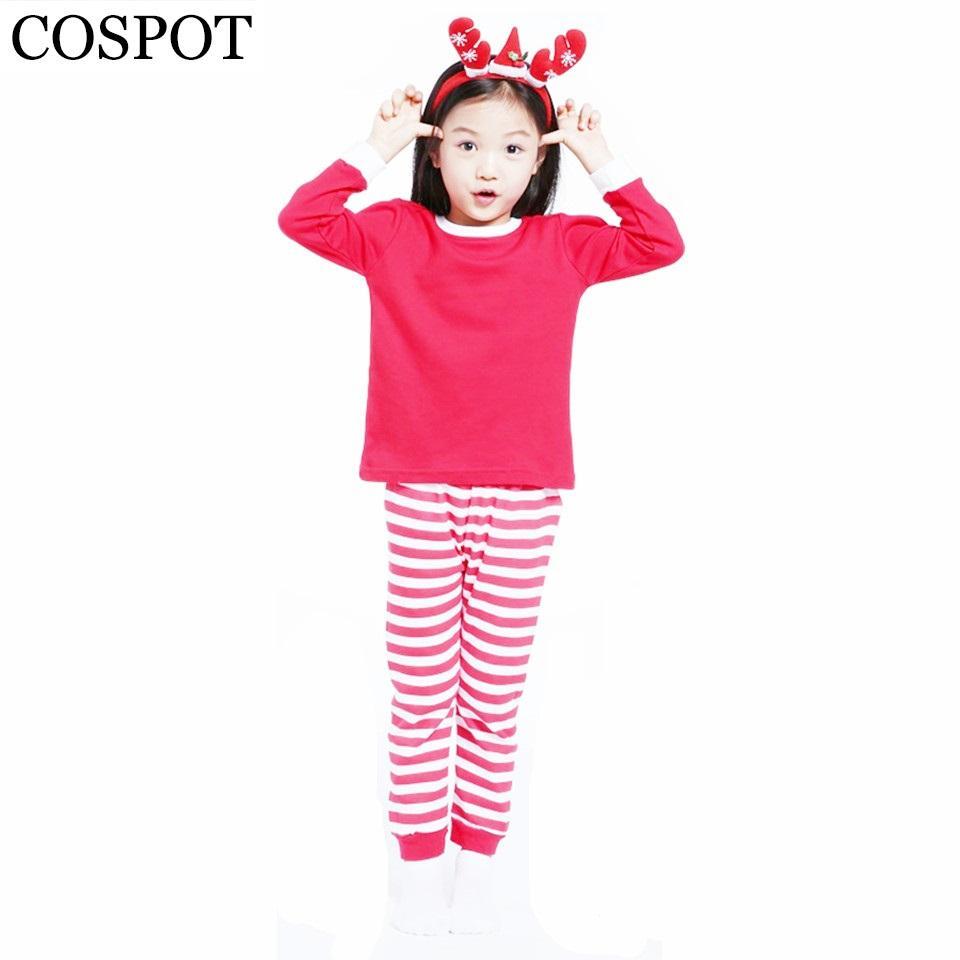 Cospot Baby Girls Boys Christmas Pajamas Set Kids Striped Xmas ...