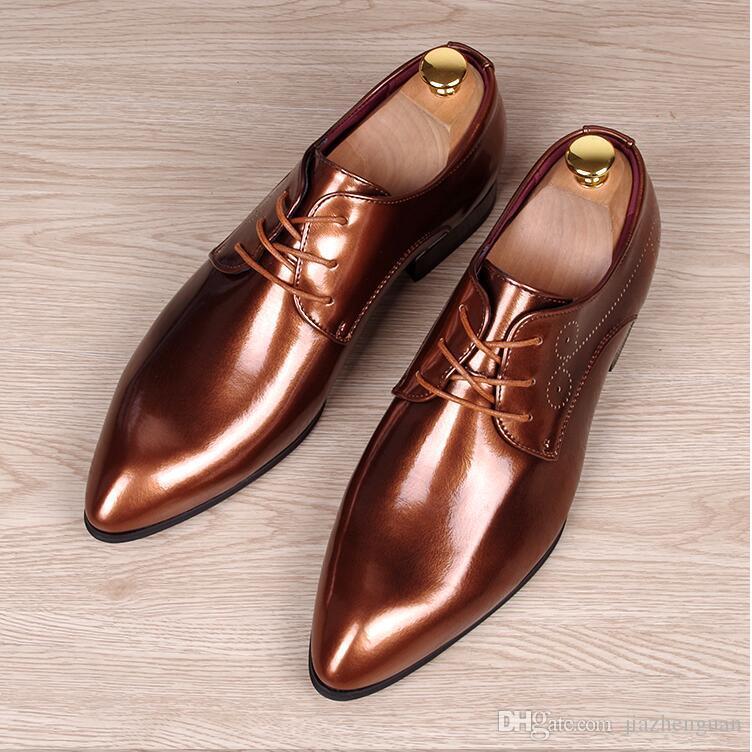 2018 Hot vendas de luxo de Negócios Vestido Homens Sapatos Formais de Casamento Dedo Apontado Moda Sapatos de Couro Genuíno Apartamentos Homens Sapatos Oxford M533