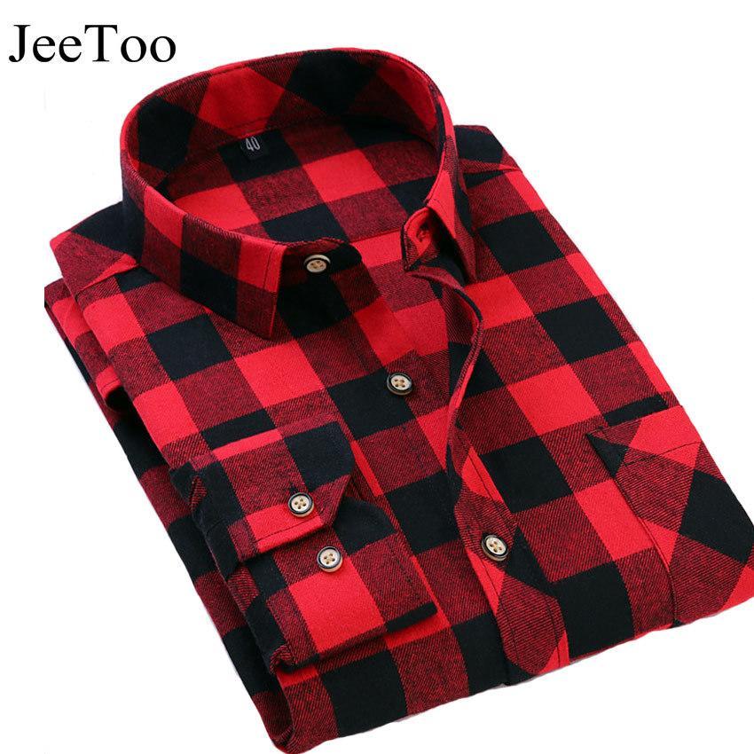 f51febe92e92b Compre JeeToo Brand Para Hombre Camisas A Cuadros Rojo Y Negro Para Hombre  Camisa De Vestir Informal De Manga Larga Slim Fit Algodón Mens Check Nueva  Camisa ...