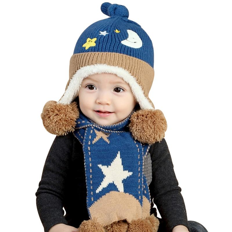 918b9807651 2019 Winter Baby Boy Girl Hat Scarf Set Cotton Cap For Infant Toddler Kids  Very Warm Moon Stars Style Crochet Knitted Hat 6 24 Months From Cassial