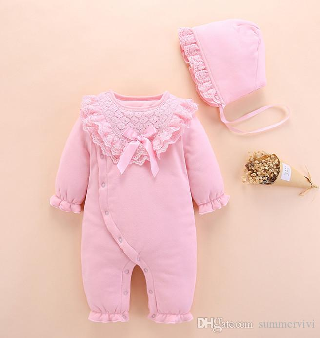 8eeb763a2eb3 Infant Kids Winter Jumpsuits Baby Girls Bows Lace Embroidery Falbala ...