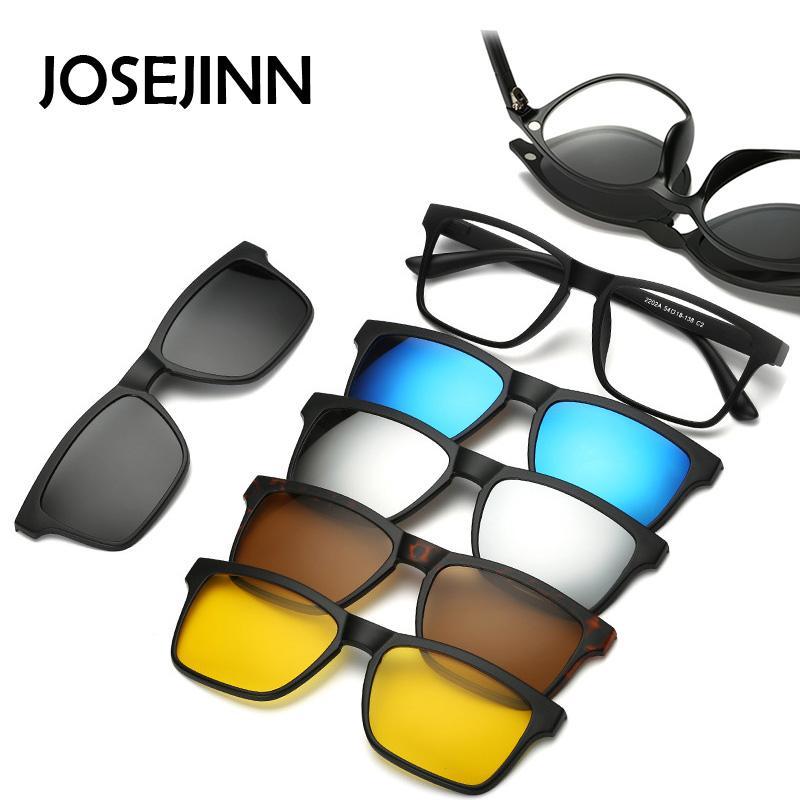3ea5b444ee Compre 5 + 1 Traje Moda Clip En Gafas De Sol Mujer Marcos Clips Magnetic  Sunglasses Anteojos Hombres Clip Gafas 6 En 1 A $36.05 Del Tiebanshao |  DHgate.Com