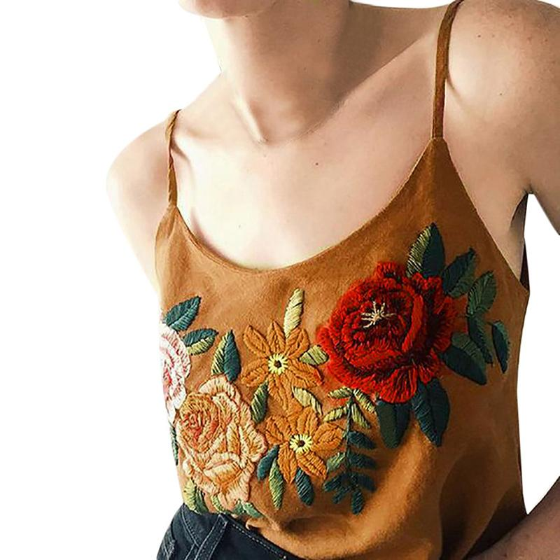 b80dcb67850 Sexy Vintage Women Summer Vest Tanks Top Sleeveless Floral Embroidery  Casual Crop Tops Women New Camis Party Wear