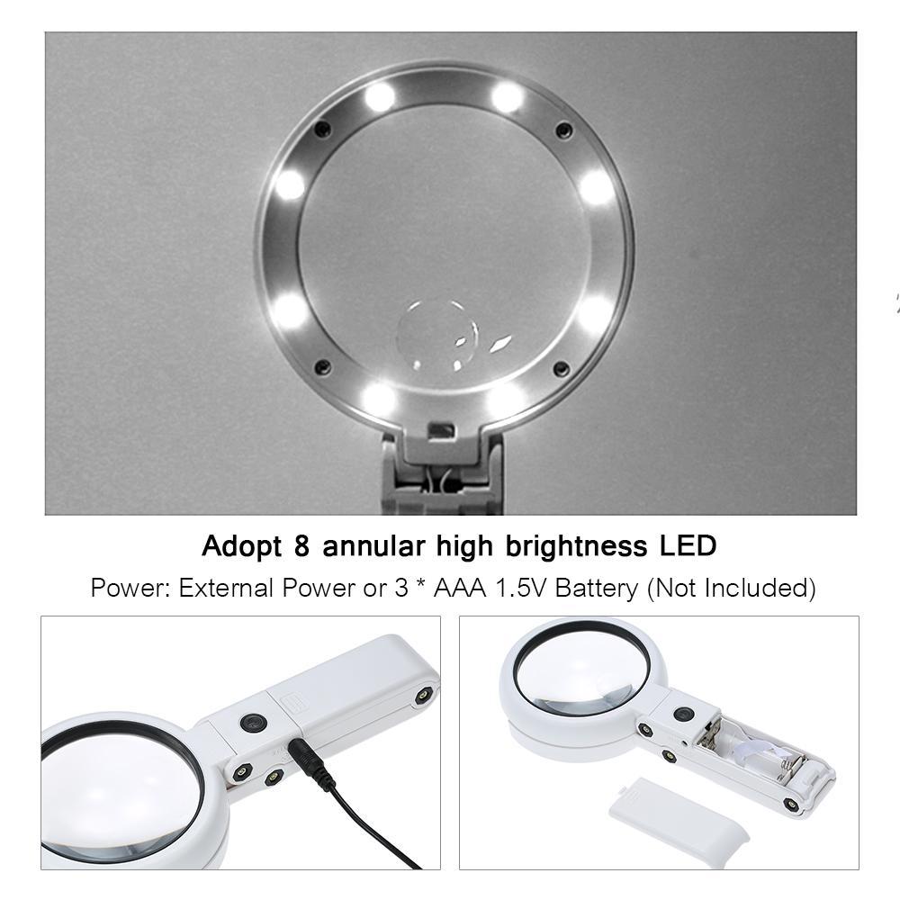 Lente di ingrandimento pieghevole a LED 8 LED Lente di ingrandimento a lente di ingrandimento 5X 11X Lente di ingrandimento per la lettura di giornali