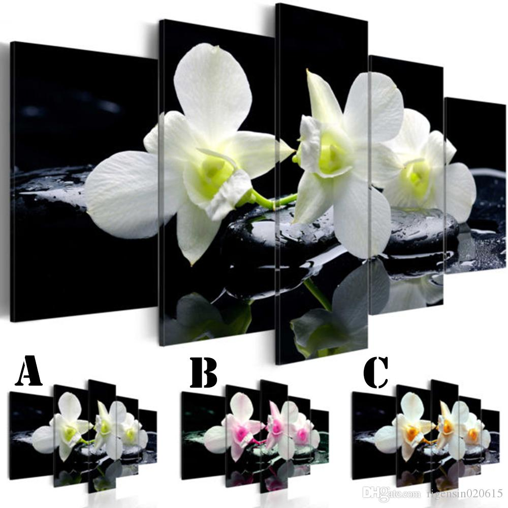 Wall Art Picture Printed Oil Painting on Canvas No Frame 5pcs/set Home Decor Extra Mirror Border a Bunch of Orchid Black Stone