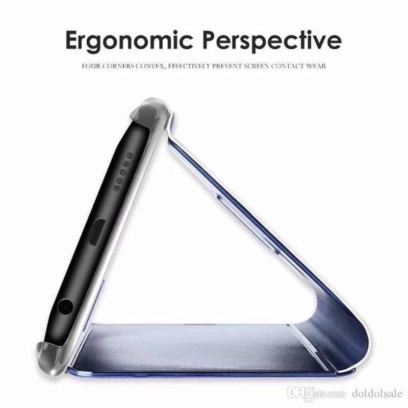 Miroir de luxe Clear View Case pour Samsung Galaxy Note 8 S6 S7 Edge S8 S9 S10 Plus S10 lite Couverture de téléphone Base Placage Vertical Stand