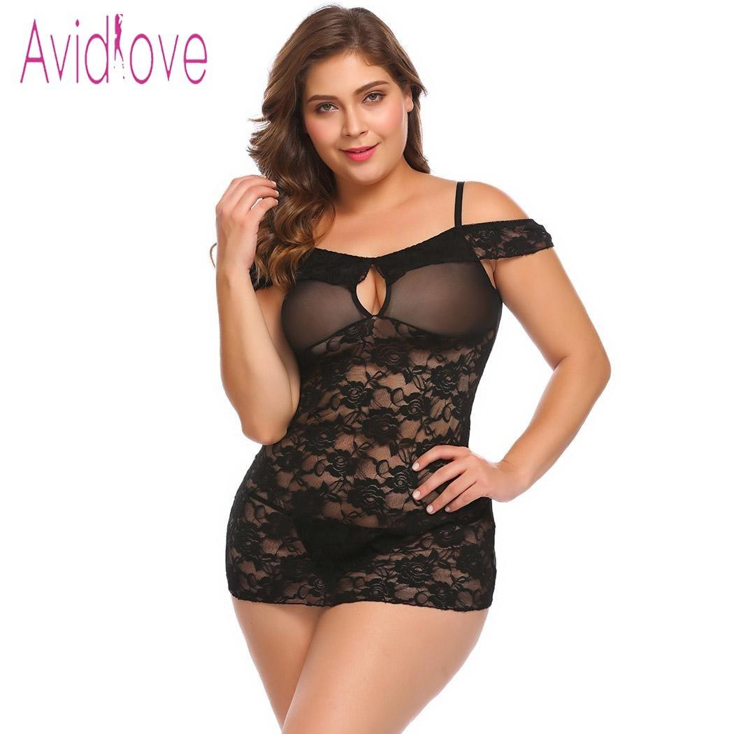 cb94ae3b55 Avidlove Big Lingerie Sexy Erotic Hot Sex Costume Transparent Floral Lace  Mesh Nightgown Sleepwear Plus Size Babydoll Chemise D18110701 Sexy Shopping  Sexy ...