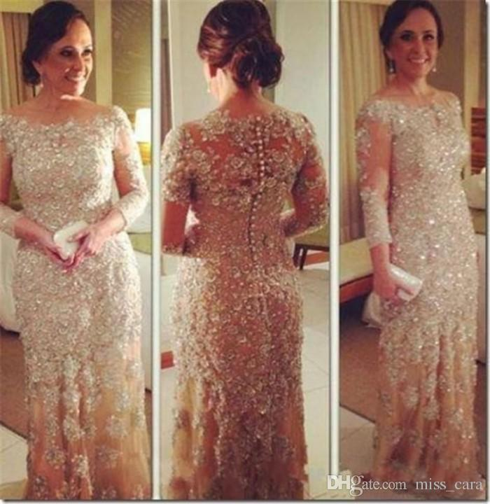 Sparkle Mother Of The Bride Dresses Long Sleeve Lace