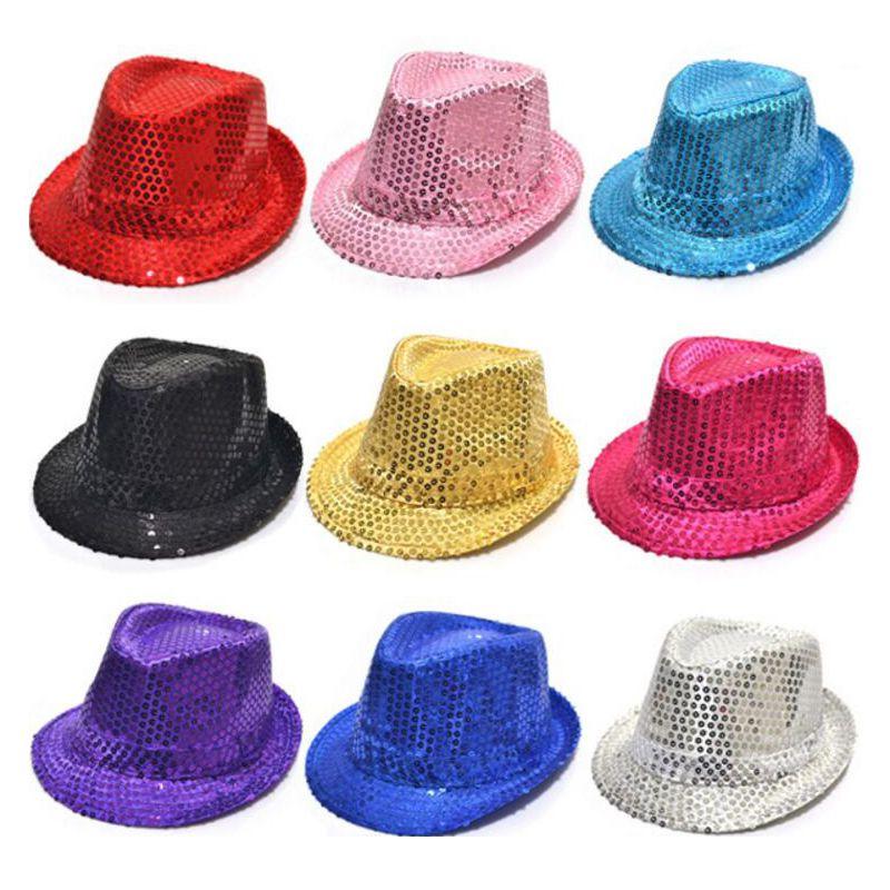Fedora Trilby Sequin Unisex Fancy Dress Dance Party Hat Unisex Hip-Hop Jazz Hat DHL shipping