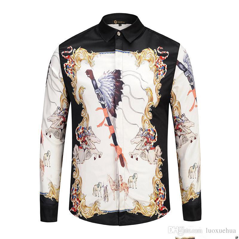 Fdeyu2018 Dos Homens Floral Imprimir Mistura de Cor de Luxo Casual Camisas Harajuku Mangas Compridas Camisas Dos Homens Medusa M - 2XL