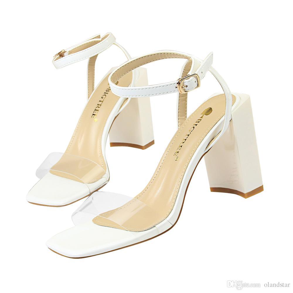 f52a2c1bf193b3 Fashion Chunky Sandals Dress Shoes Women Heels Pumps Open Toe High ...