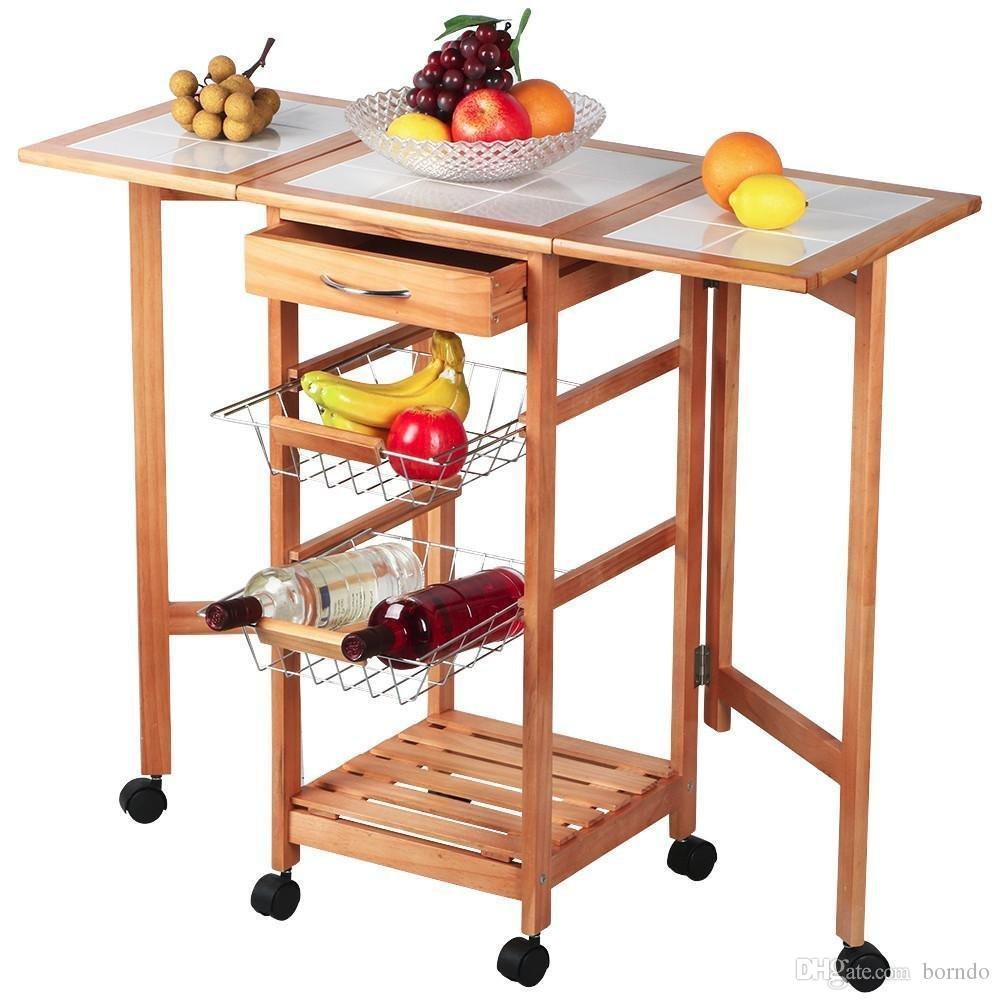 Carrello mobile da cucina con carrello a forma di foglia mobile pieghevole  Carrello Smart Island Sapele ColorKitchen tavolo da pranzo auto
