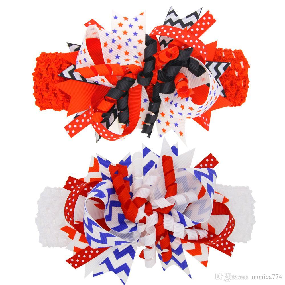 Nave veloce! Independence Day staccabile fasce + Forcina neonate Bandiera Bowknot fasce elastiche Stelle cerchio dei capelli dei bambini USA Flag Copricapo A12