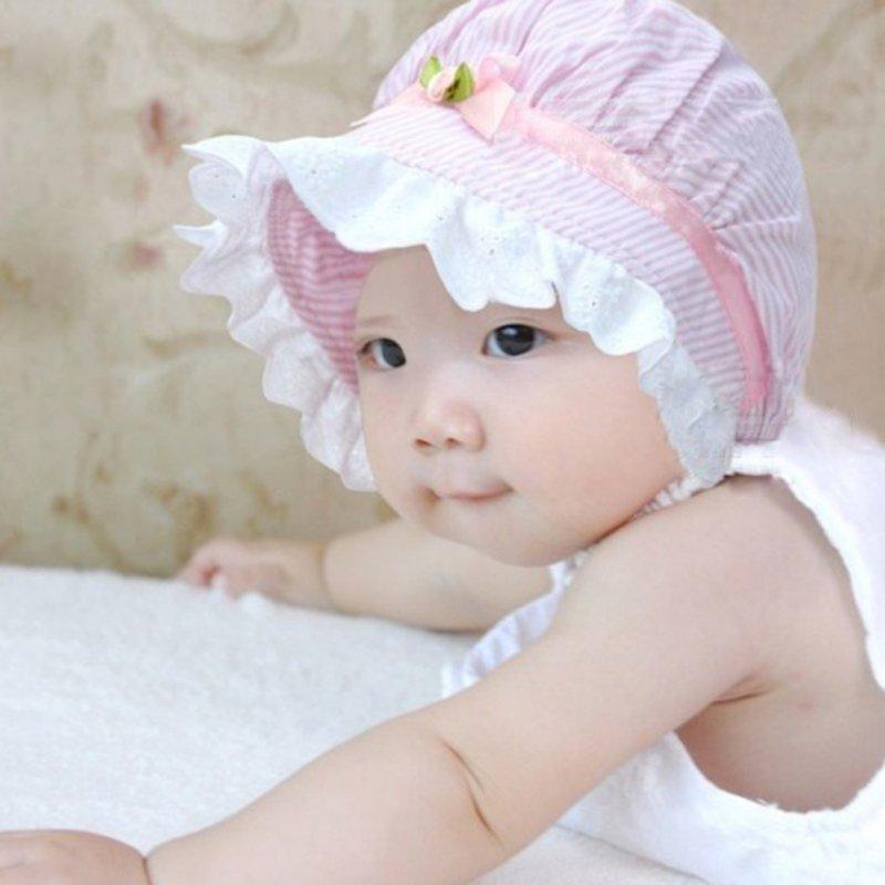 3a224c9e478e1 2019 Summer Newborn Baby Cute Toddlers Striped Girls Lace Flower Sun Hat Cap  Cotton Hat From Cornemiu