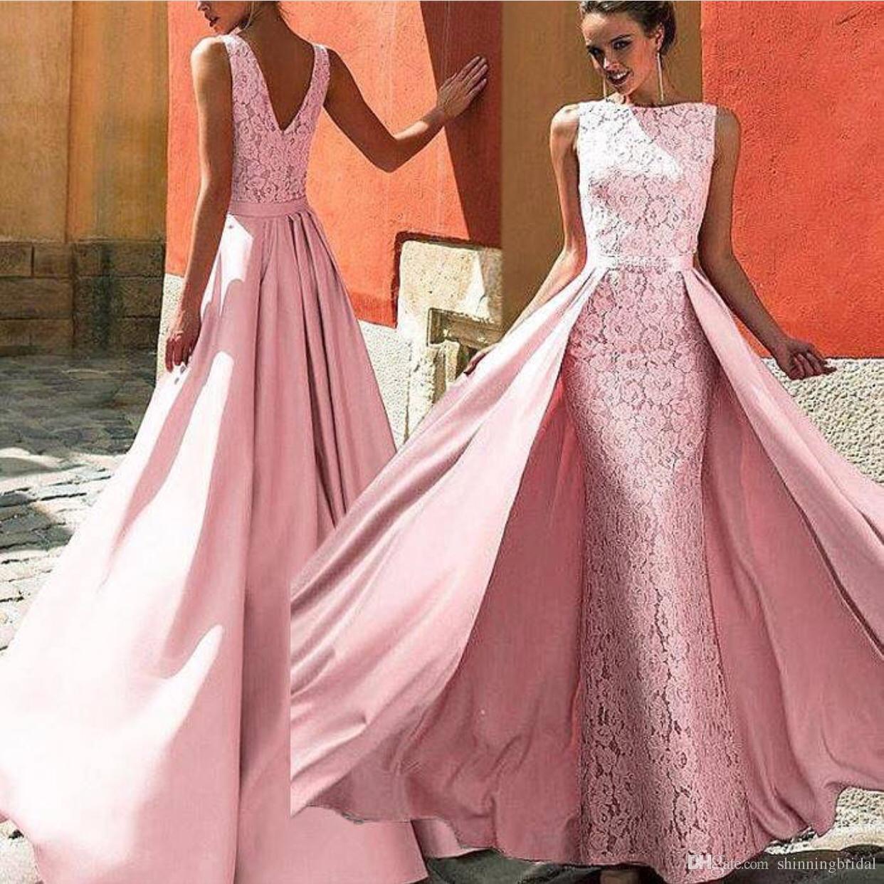 Compre 2019 Falda Desmontable Rosa Vestidos De Noche Largo Elegante ...