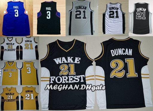 0123278fccbe Wake Forest Demon Deacons College Basketball Jerseys 21 Tim Duncan 3 ...