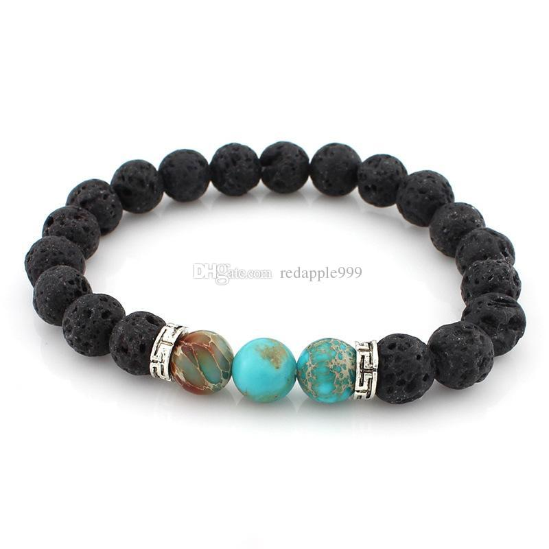 Silver Gold Alloy Lava Rock Beads Charms Bracelets Colorized Beads Unisex Natural Stone Strands Bracelet For Fashion Jewelry Crafts
