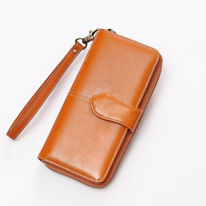 661952d436dd 2018 New Fashion Women Long Zipper Purses Genuine Leather Clutch ...