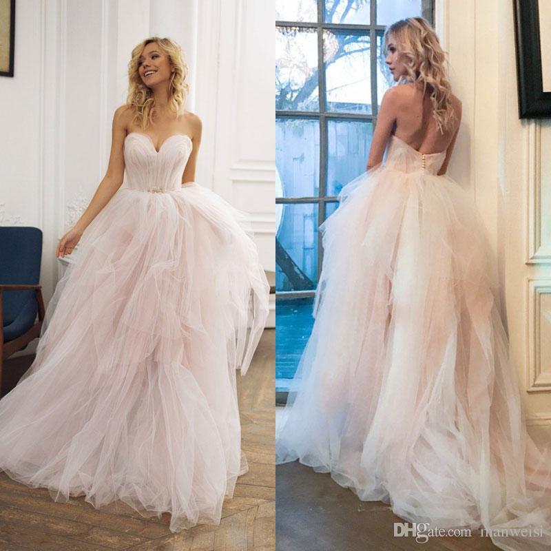 Discount Desginer Blush Pink Beach Wedding Dresses 2018 Bohemia