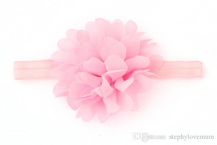 Baby Headbands Peony Flower Elastic Chiffon Ribbon bow Headband Children Hair Accessories Kids Cute Hairbands for Girls Nylon Bow