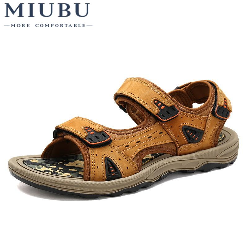 3c6521b3594e MIUBU New Men s Sandals High Quality Cow Leather Male Summer Shoes ...