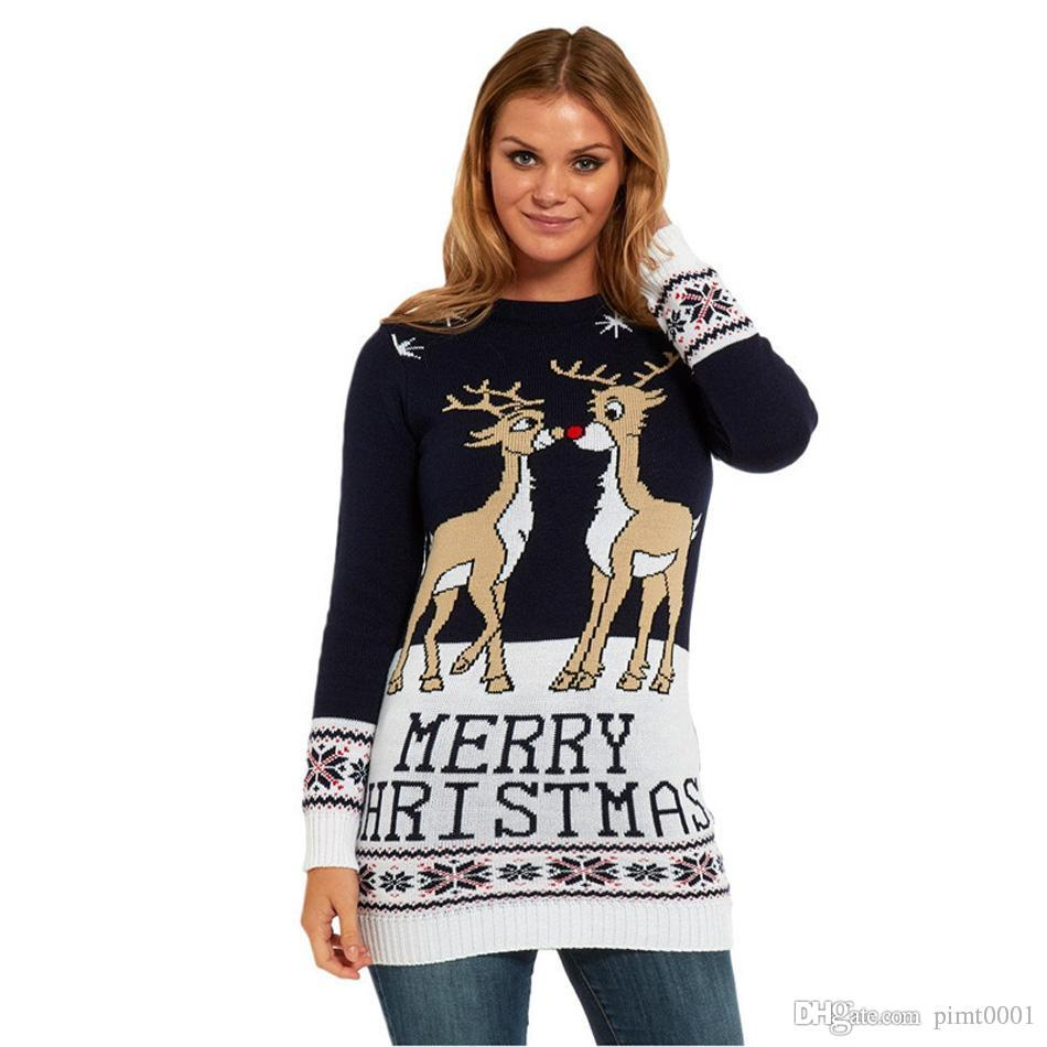 best christmas sweater pullovers oneck long sleeve cute girls reindeer christmas pattern knit xmas party pullover jumper sweter mujer under 2794 dhgate - Best Christmas Sweaters
