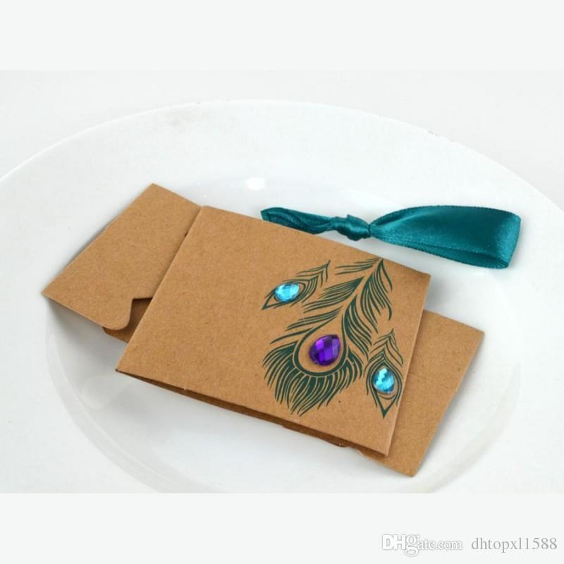 European Design Peacock feather candy box kraft paper gift packaging for sweets tea dim sum wedding favors