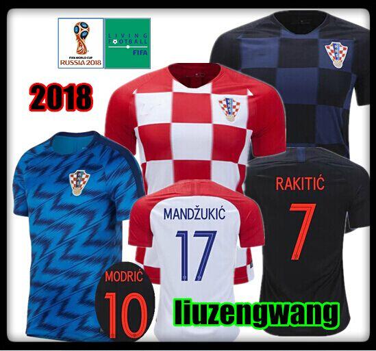 d07c2a273 2019 2018 World Cup Jersey 10 MODRIC 4 PERISIC 7 RAKITIC 17 MANDZUKIC 11  SRNA 8 KOVACIC Red Blue Hrvatska Shirt 10 Free DHL Rugby Wear From  Liuzengwang