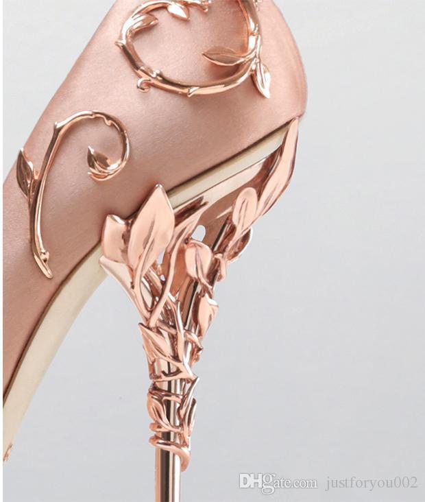 Ralph rusya pembe / altın / bordo rahat tasarımcı düğün gelinlik ayakkabı ipek eden topuklu ayakkabı düğün akşam parti balo ayakkabı