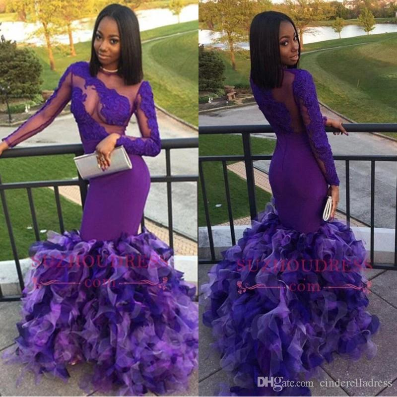 2018 African Black Girls Organza Mermaid Long Sleeves Prom Dresses Sheer Neck Cascading Layers Ruffle Evening Gowns BA7896