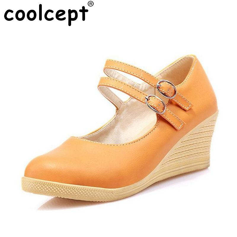wholesale Simple Office Lady Wedges Shoes Women Ankle Strap Metal Buckle Wedges Pumps Wedding Party Club Women Shoe Size 34-39 clearance cheap real 2014 newest cheap price outlet sneakernews brand new unisex sale online shop sale online JmSDVtAl