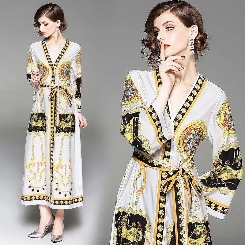Lâche Paisley Femmes Cravate Automne Hiver Cardigan Imprimer Maxi Party Vintage Élégante Taille Style Avec Robe lTFKJc1