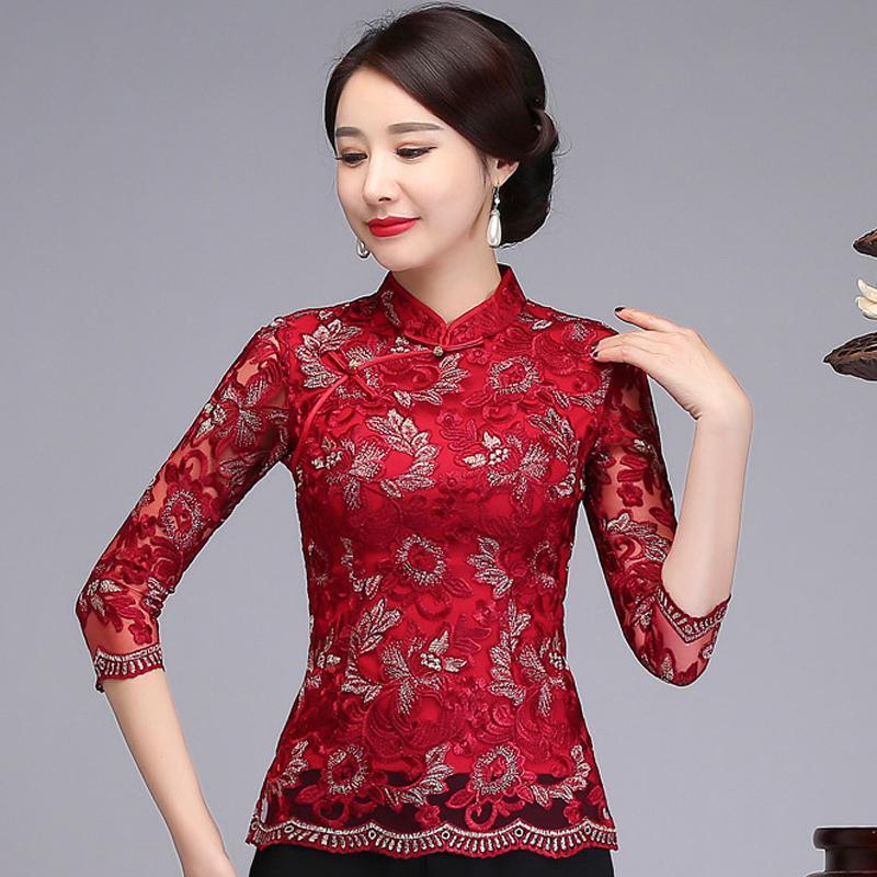 nuovo arrivo aa85d 7903d Camicia a fiori stile cinese ricamo fiore femminile camicetta rossa tre  quarti manica Casual casuale pulsante Tang abbigliamento M-4XL