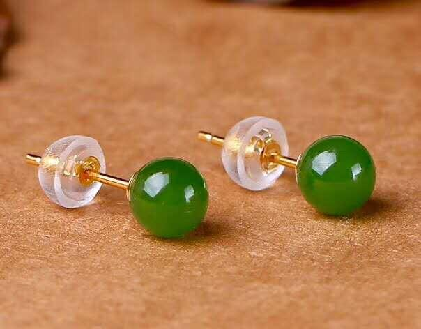 Hetian Biyu Silver Inlay New Bead Earrings j48#