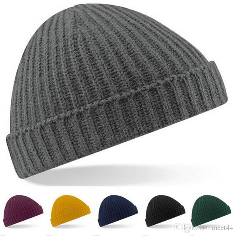 3764fea44aa99 Short Paragraph Ingot Knitted Ski Hat Autumn And Winter Men And Women  Outdoor Thermal Retro Single Flanging Vertical Stripes Hat Caps Cap From  Meet44