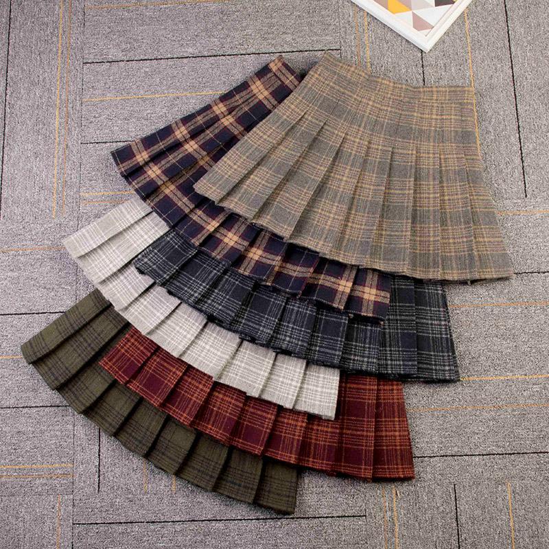 f6ed77449e 2019 Woolen Skirt Pleated Preppy Style Plaid Above Knee Mini Length Empire  Waist Autumn Winter 2018 From Vanilla01, $25.61 | DHgate.Com