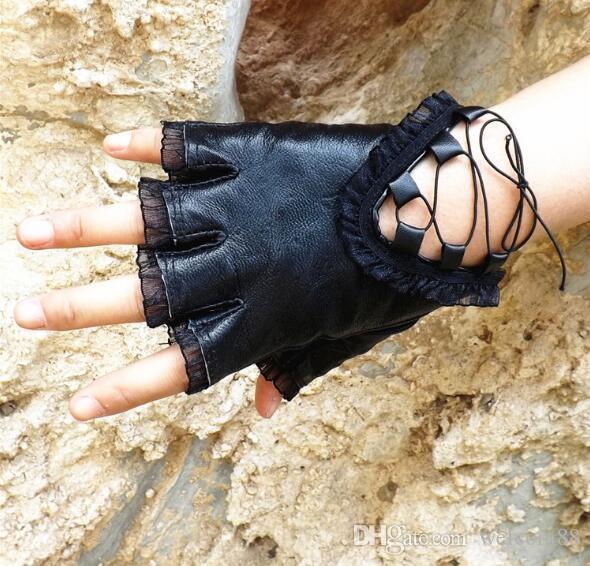5 sztuk / partia moda czarna prawdziwa skóra kobieta rękawiczki bez palców do tańca sportów GL1