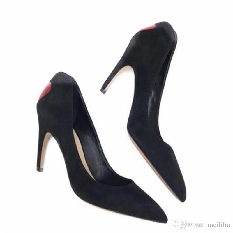 New Stylel Spring Autumm Fashion Balck Suede High Heel Woman Shoes Pointed End Shallow Mouth Benevolence joker Women Pumps
