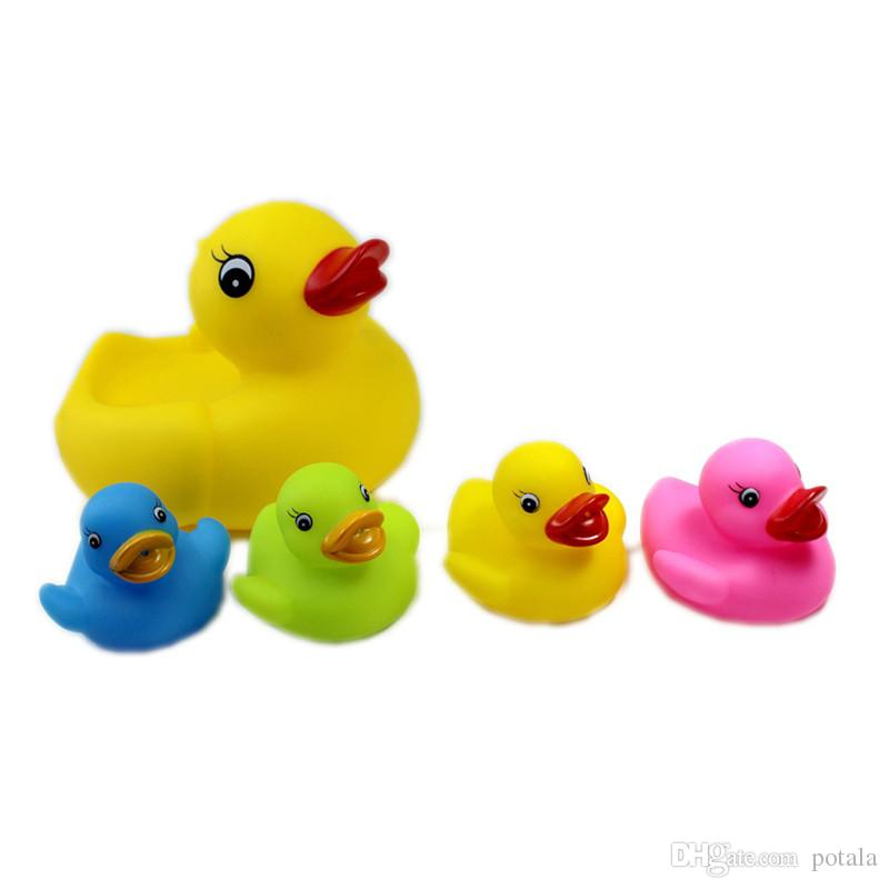 Bath Toys 20CM&6CM Baby Fun Shower 8inch interesting Big BB Sound Star Mini Yellow Rubber Duck Blue Green Red Yellow Set of 5 1big