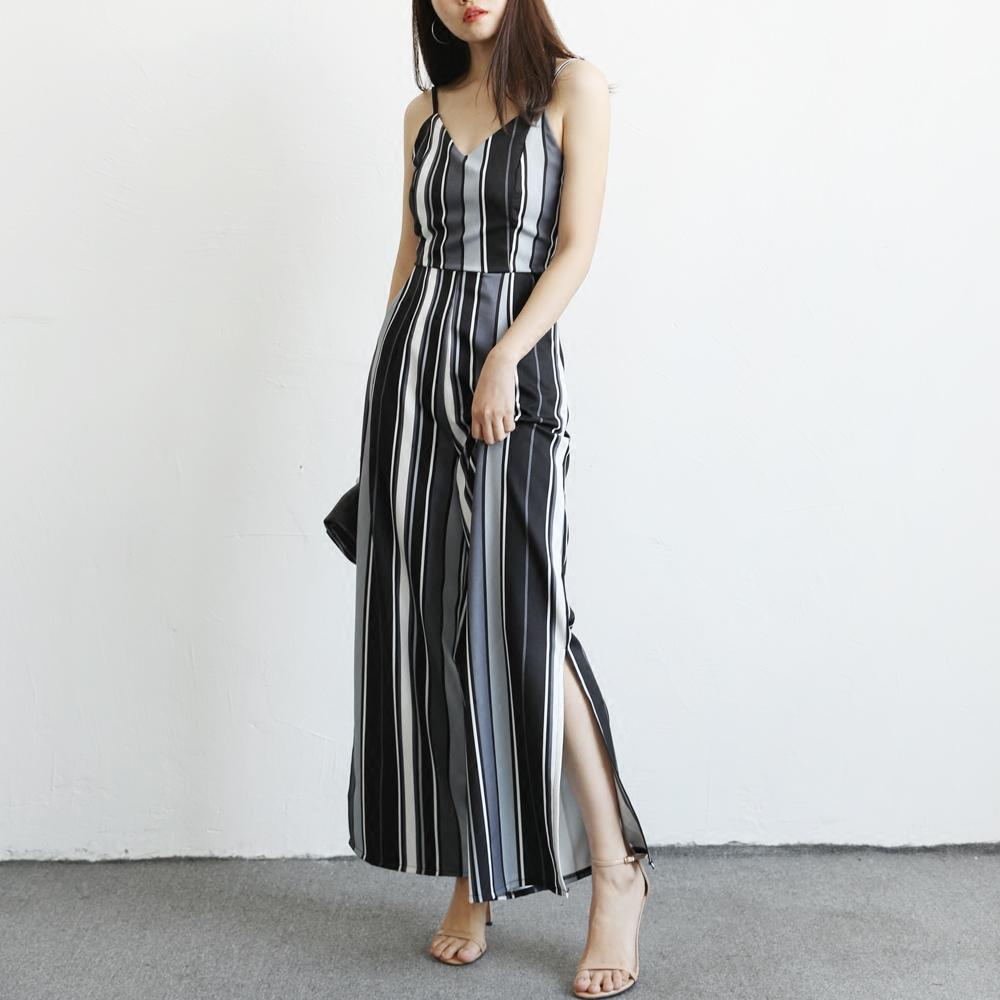cd3713e3139 2019 Wholesale 2018 Elegant Womens Rompers Jumpsuit Striped Casual Solid  Bodysuit Sleeveless Tight Long Pants Sexy V Neck Long Playsuits From  Clothesg519