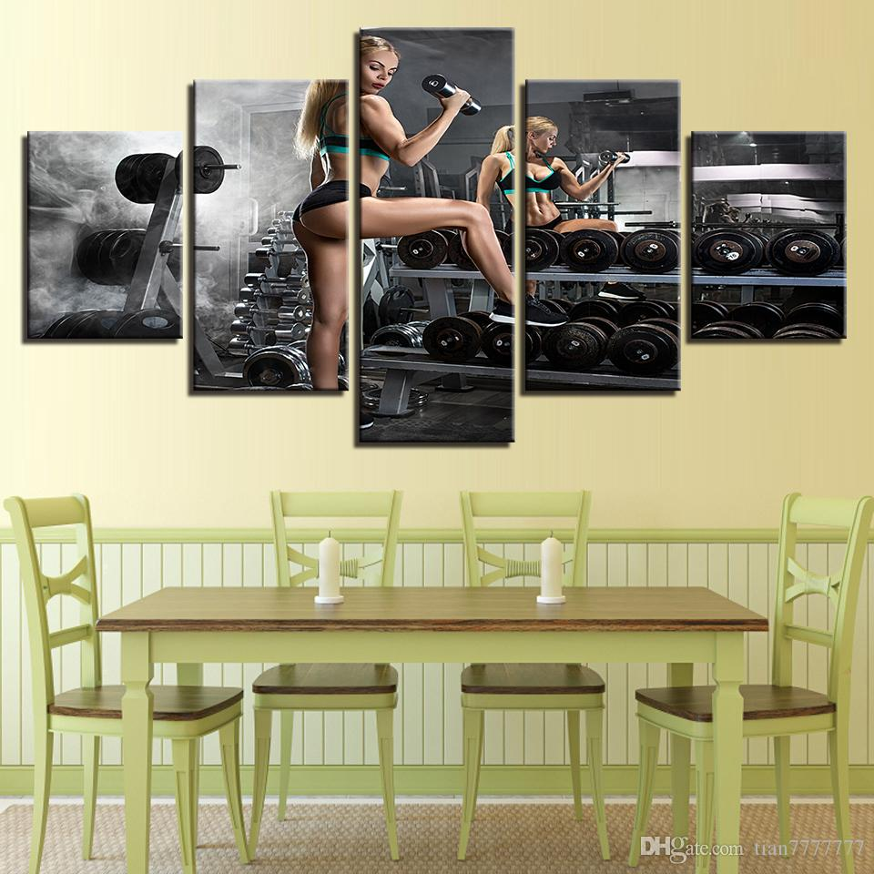2018 Unframed Dumbbell Fitness Canvas Painting Modern Gym Wall Decor ...