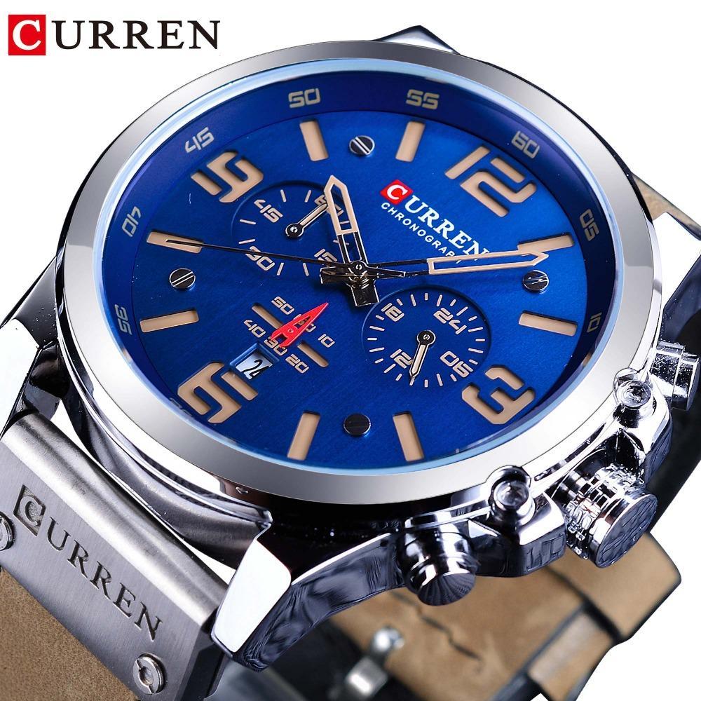 09906ce7fca8 Compre Curren Dial Azul Marrón Cuero Genuino 3 Dial Calendario Mostrar Hombres  Reloj De Pulsera Deportivo De Cuarzo Top Brand Reloj Masculino De Lujo A ...