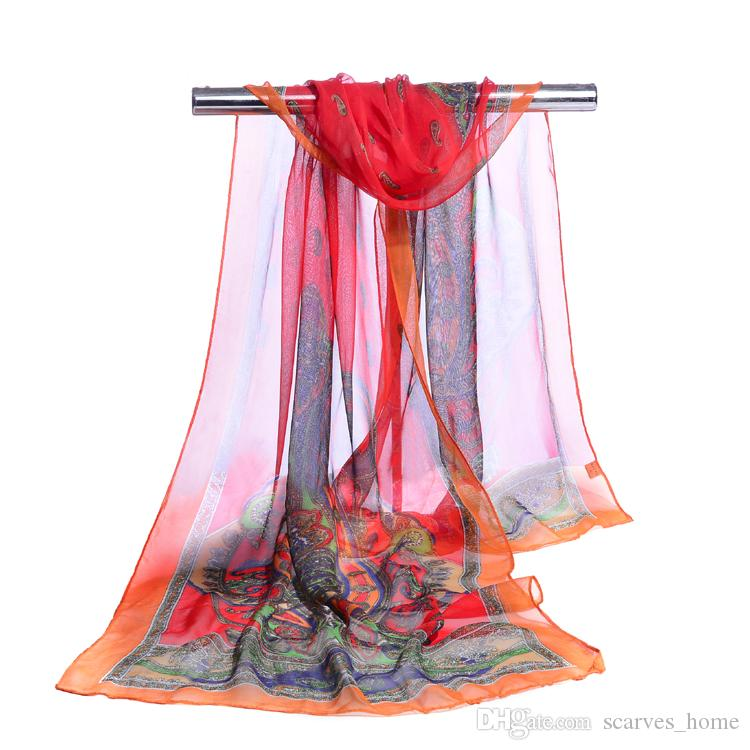 new chiffon georgette silk scarf women Bohemia long shawls Spring and Autumn cashew scarves and wraps sunscreen cape