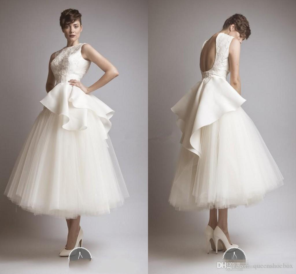 2018 Krikor Jabotian New Vintage Short Wedding Dresses Peplum Lace Tulle Backless Jewel Tea Length Sheer Beach Party Hot Bridal Gowns
