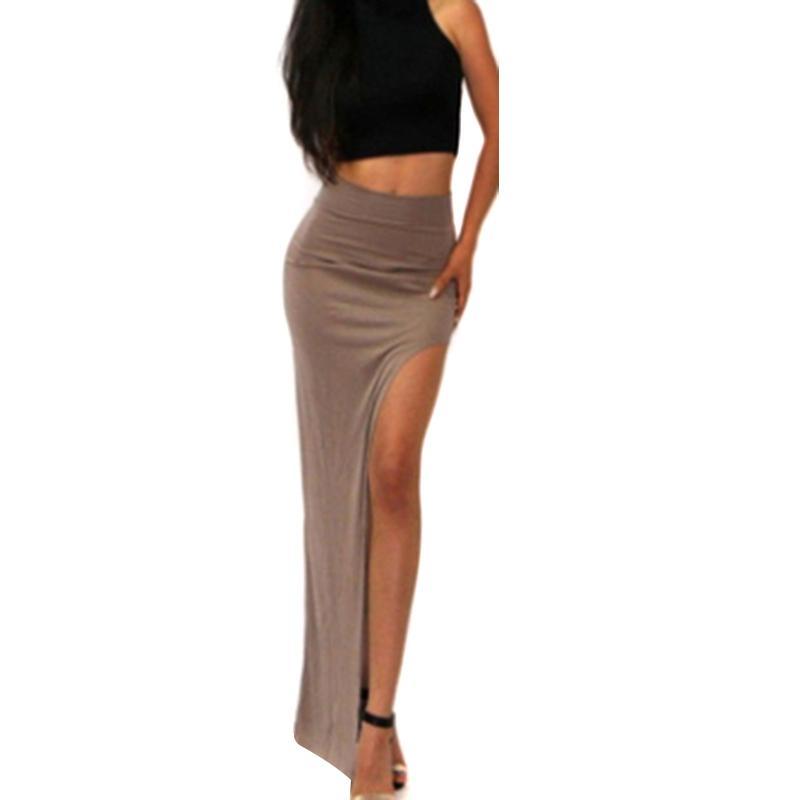 8ddd5ed91b Compre 2019 Nueva Moda Encantadora Mujer Sexy Dama Faldas Largas Lado  Abierto Split Falda Larga Cintura Alta Slit Maxi Falda Negro A  20.07 Del  Jamie08 ...