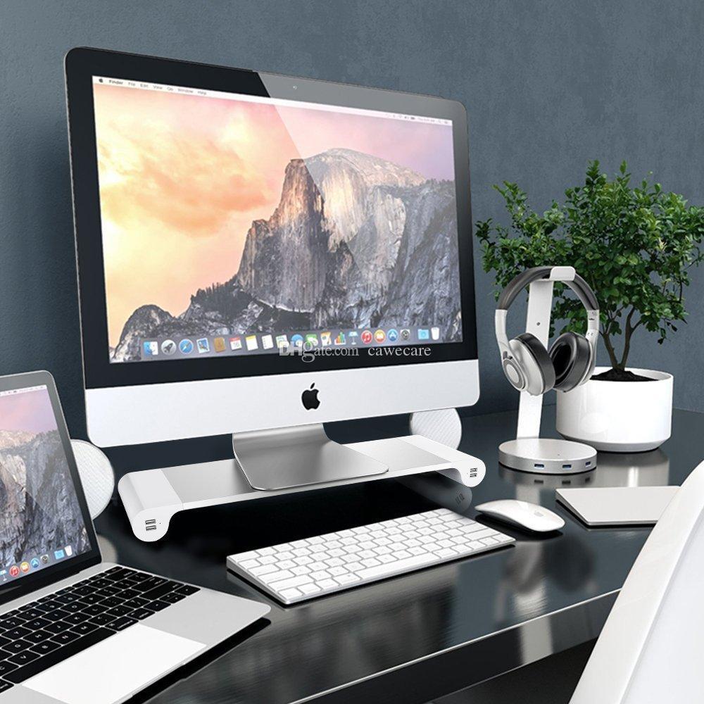 Moniteur d'ordinateur en aluminium Support de barre d'espacement de moniteur d'affichage à cristaux liquides Riser C0069 monture d'écran de PC avec 4 ports USB Stockage de Keybord