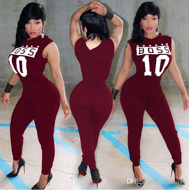 963ad32c585 Wholesale 2017 Casual Women One Piece Outfits Jumpsuits Sleeveless Letter  Print Hooded Long Pants Sexy Black Red Sporting Romper Playsuit UK 2019  From ...