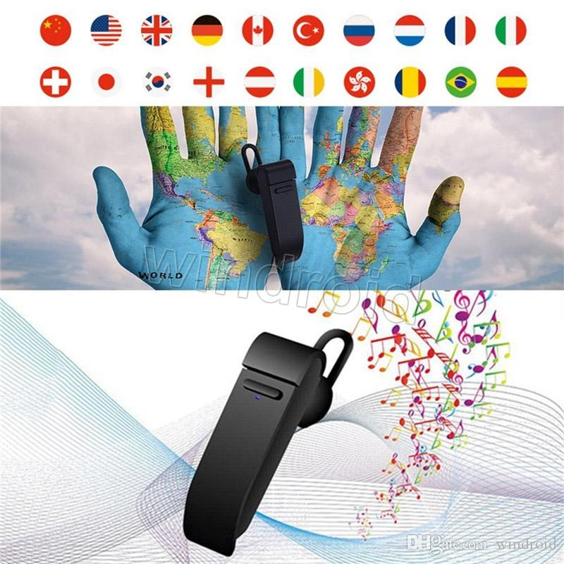 New Peiko 20 Languages Intelligent Wireless Bluetooth real time Translate Earphone Business Mobile Phone High Quality Headset + retail box