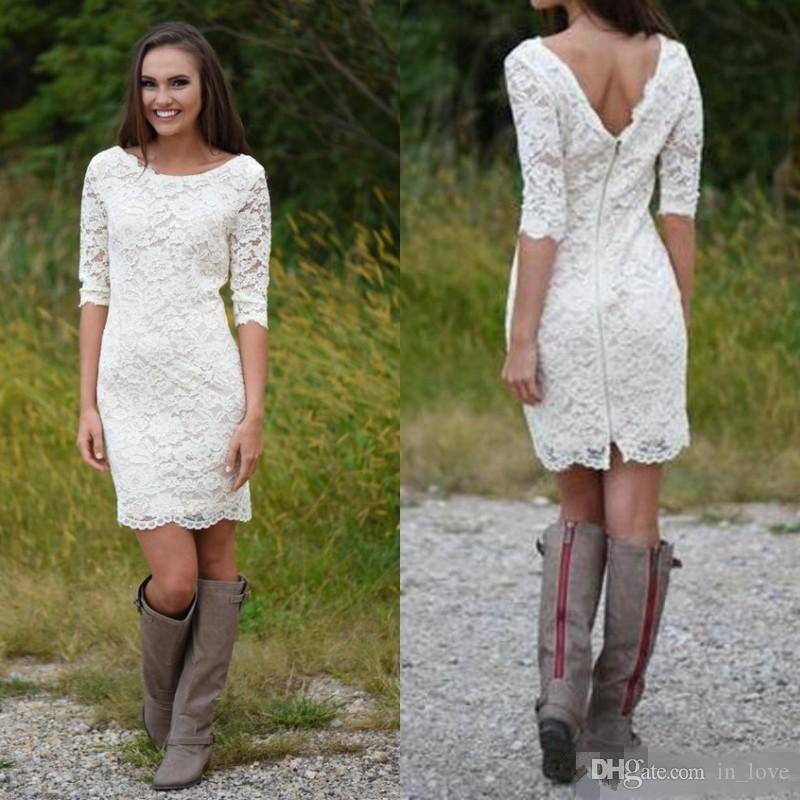 Short Casual Wedding Dress Half Sleeve Jewel Neck Knee Length Sheath Full Lace New Design Bridal Gowns Custom Size
